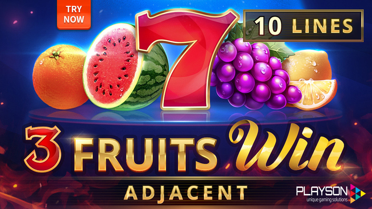 3 Fruit Wins: 10 Lines Adjacent Slot Logo