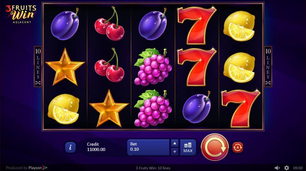 3 Fruits Win 10 Lines Adjacent Slot Bonus