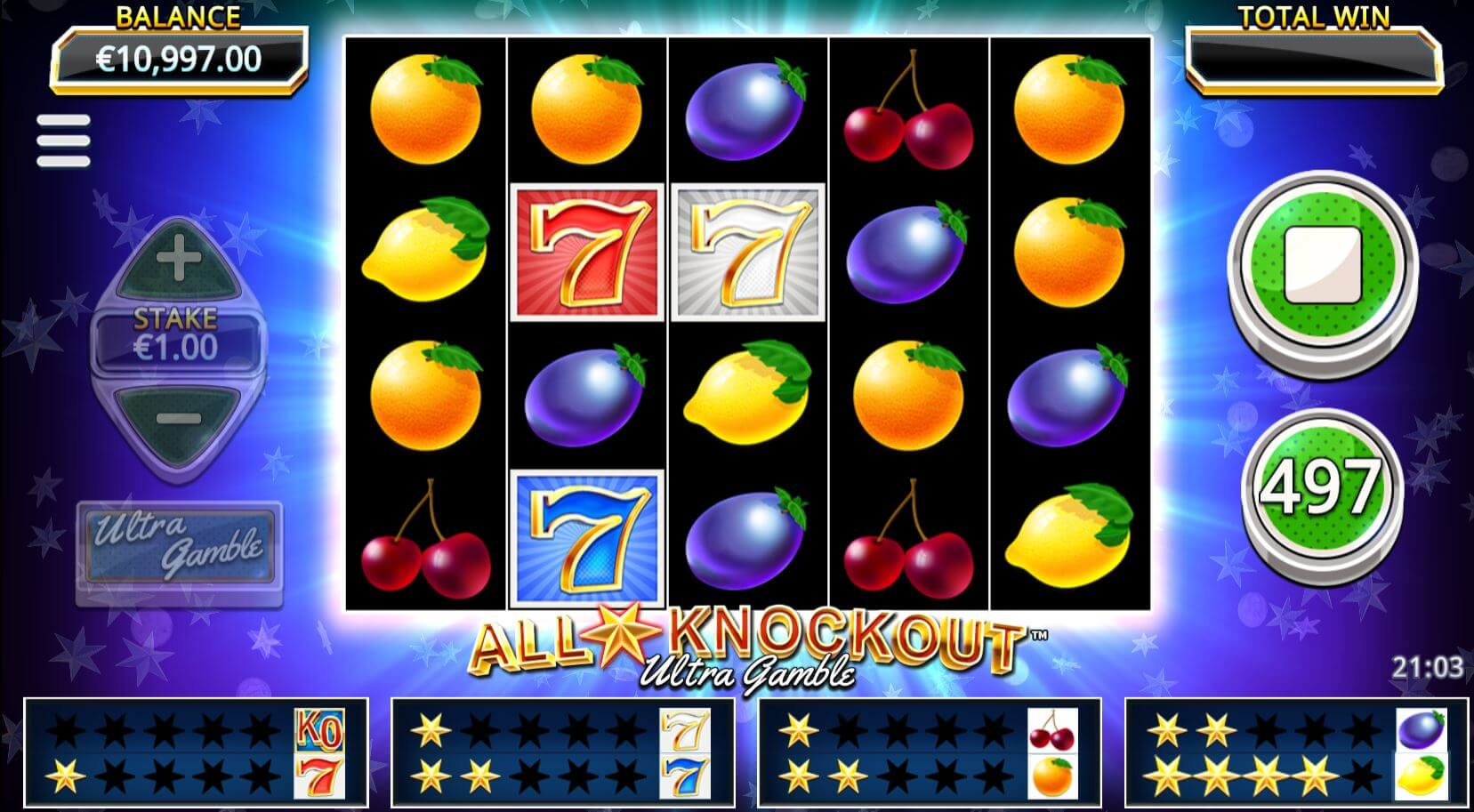 All Star Knockout Ultra Gamble Slot Gameplay