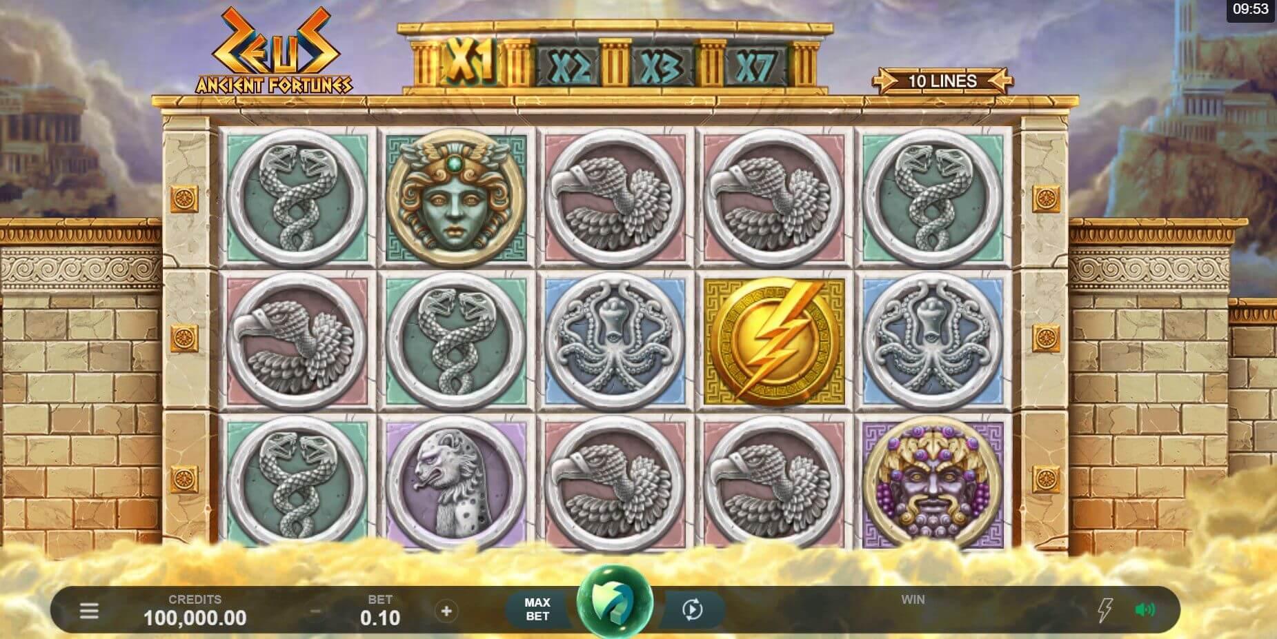 Ancient Fortunes Zeus Slot Gameplay
