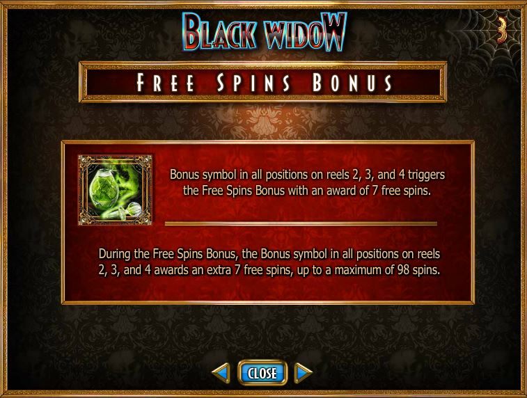 Black Widow Free Spins Bonus