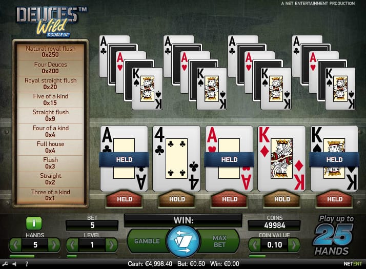 Deuces Wild Double Up Slot Game
