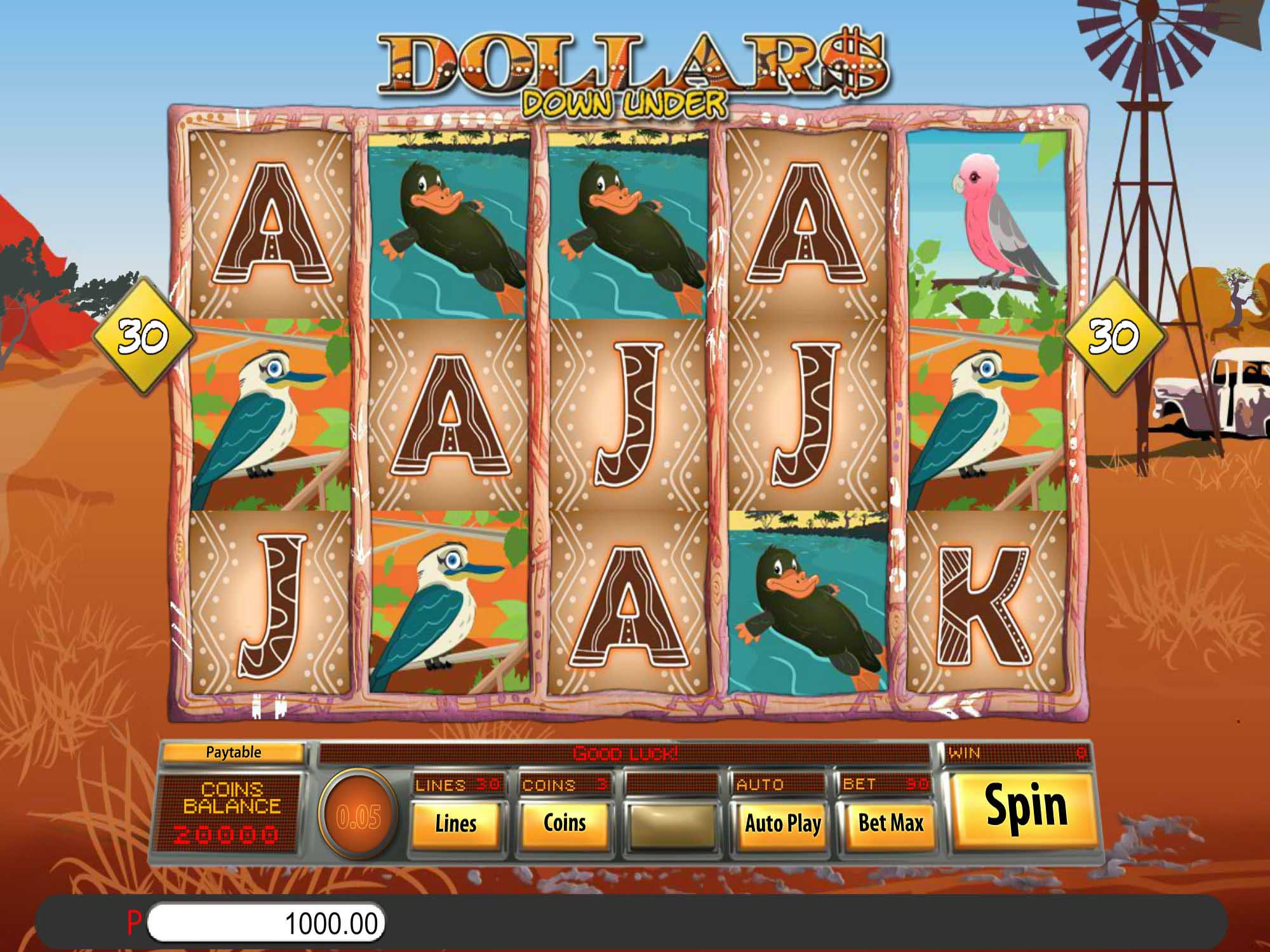 Dollars Down Under Slot Gameplay