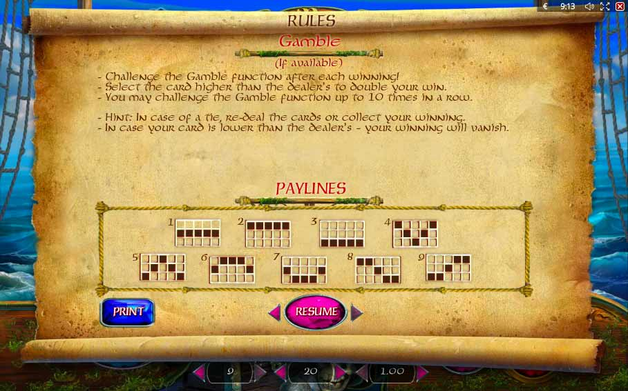 Lucky Pirates paytable
