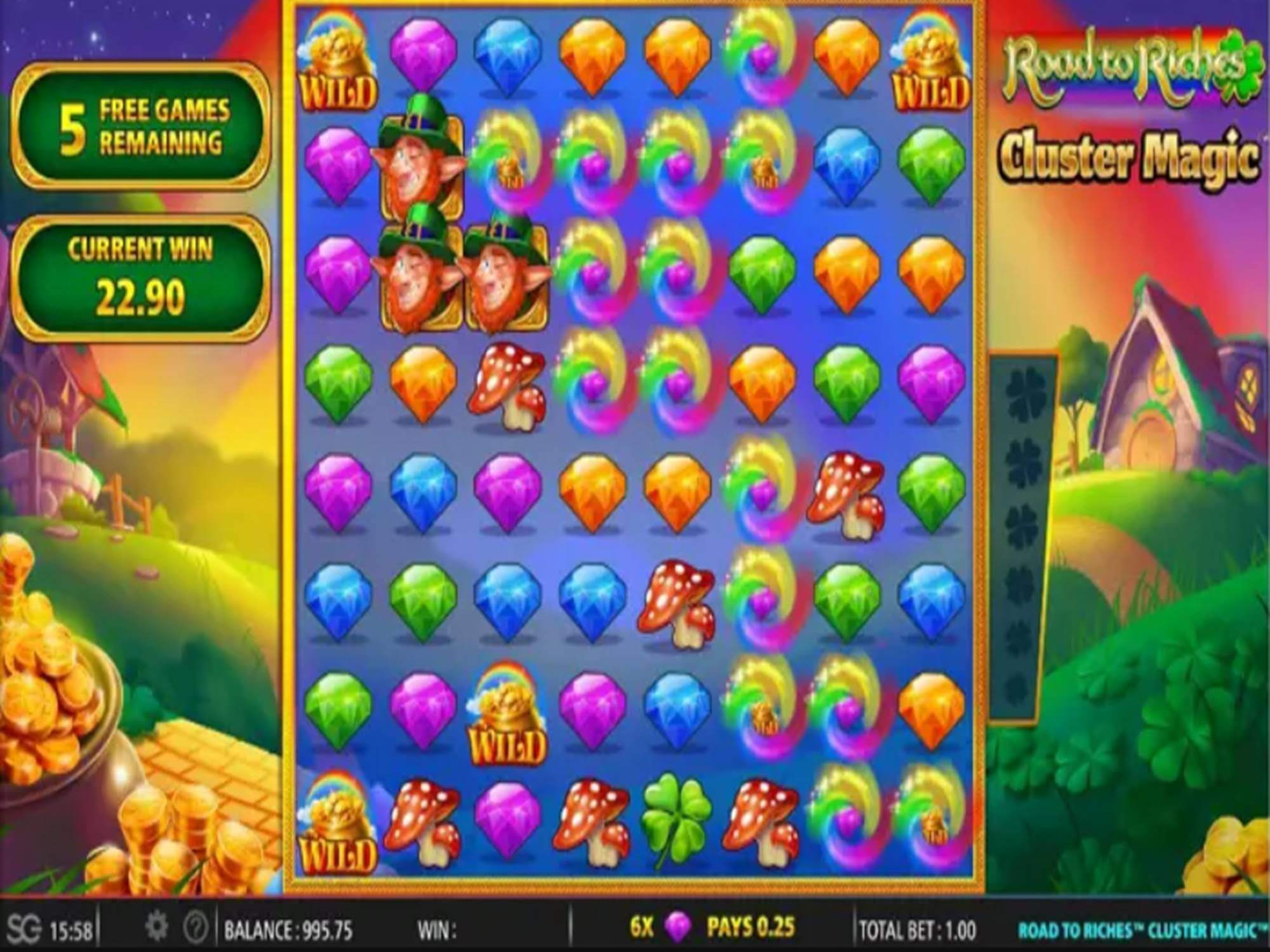 Rainbow Riches Cluster Magic Slot Gameplay