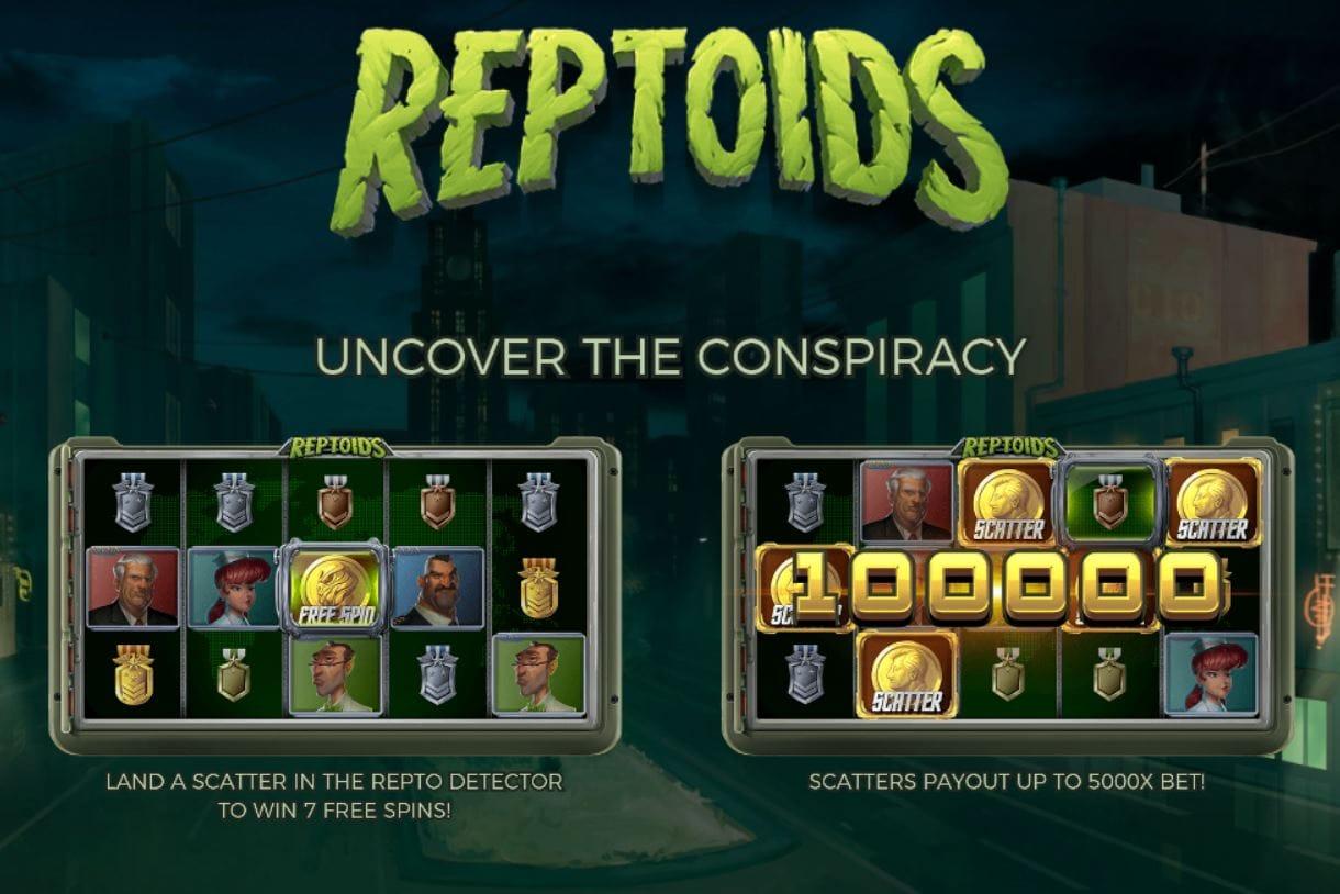 Reptoids slots game logo