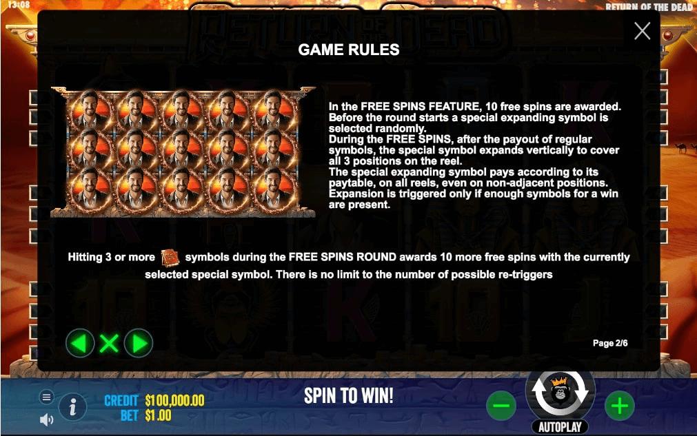 Return of the Dead Slot Info