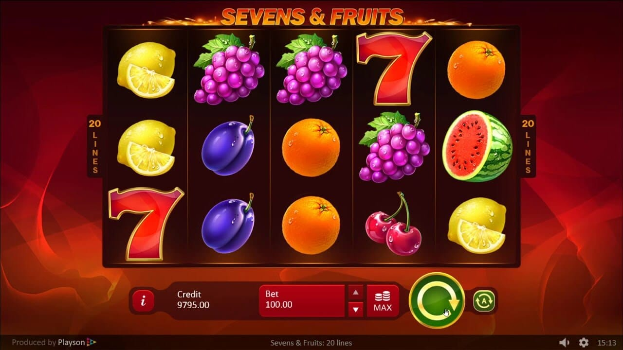 Sevens and Fruits 20 Lines Slot Bonus