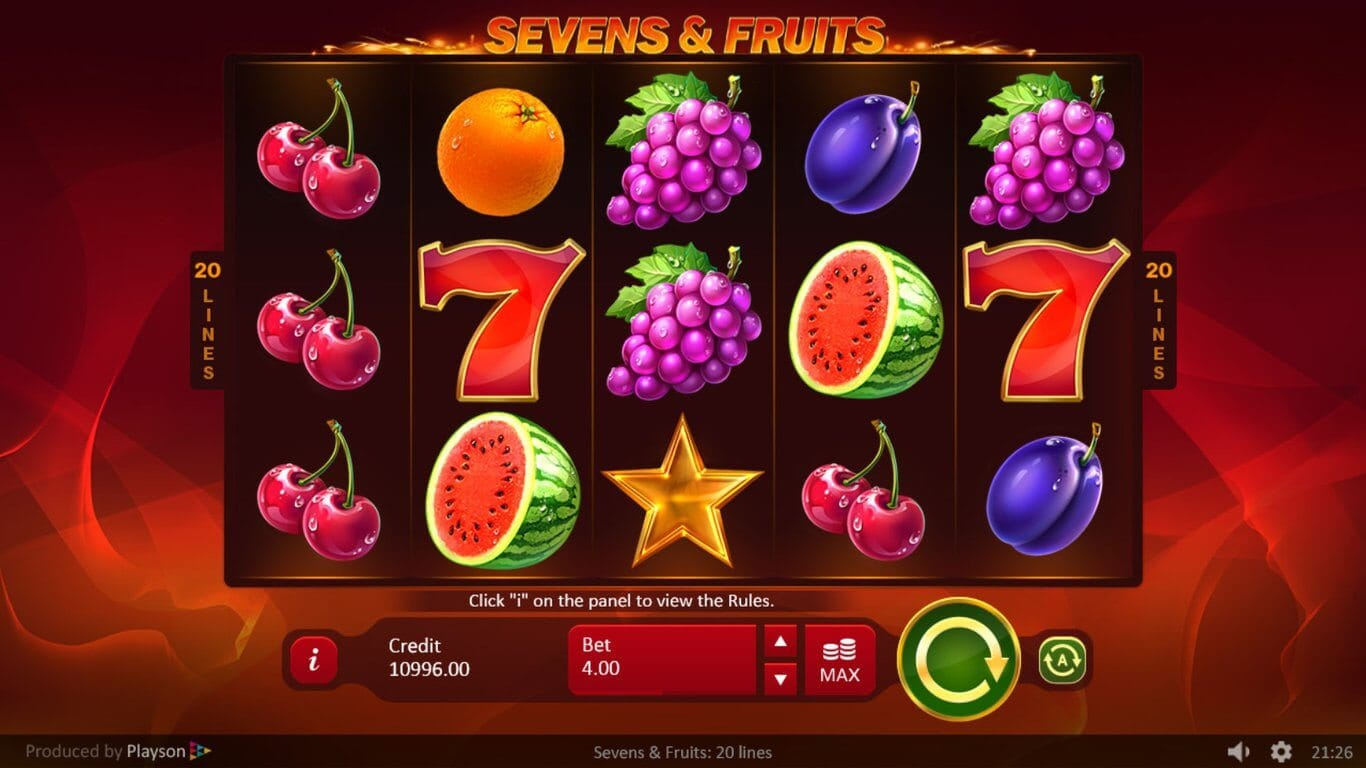 Sevens and Fruits 20 Lines Slot Gameplay