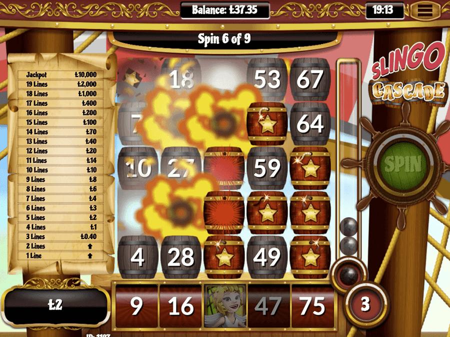 Slingo Cascade Slot Bonus