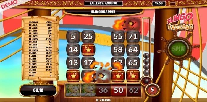 Slingo Cascade Slot Gameplay