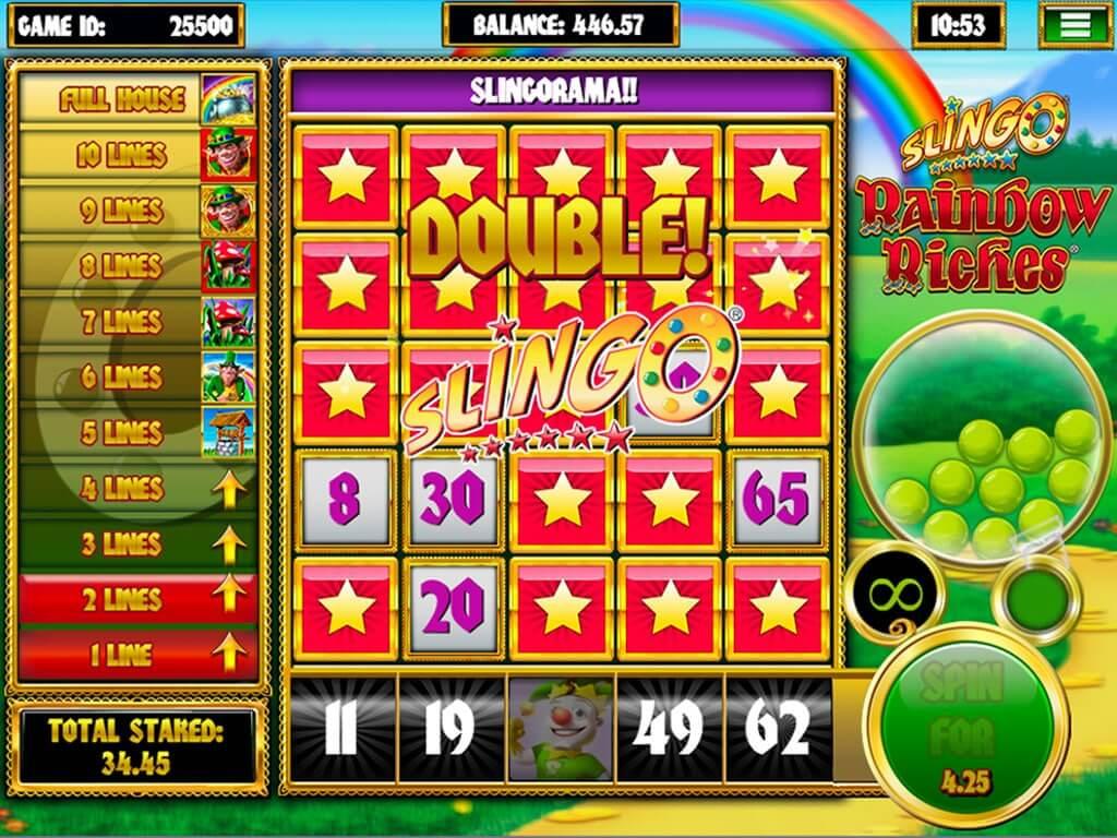 Slingo Rainbow Riches Slot Bonus
