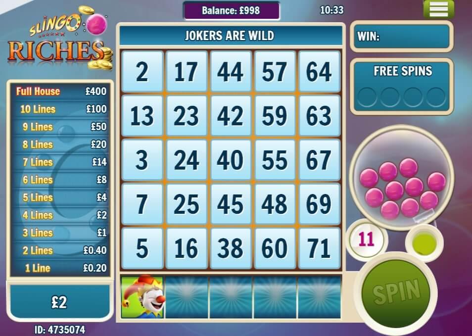 Slingo Riches Slot Bonus