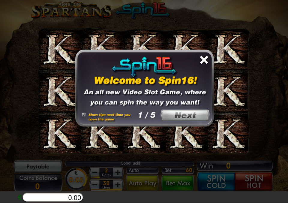 Age of Spartans Spin16 welcome