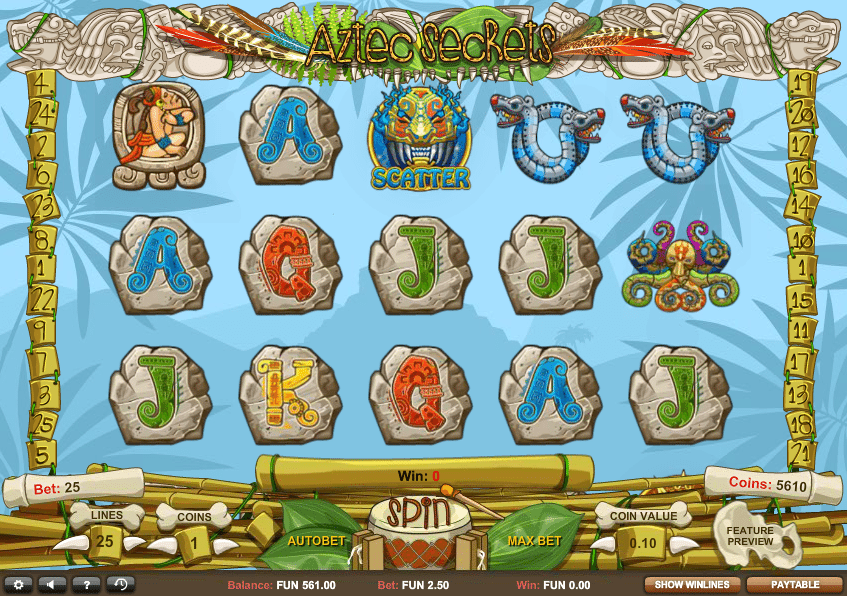 Aztec Secrets Slot game Screenshot
