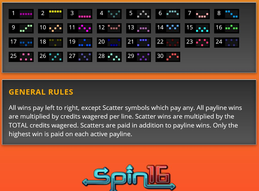 big game spin 16 general rules