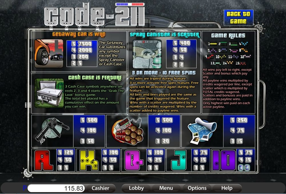 code 211 game rules