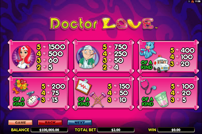 Dr Love paytable