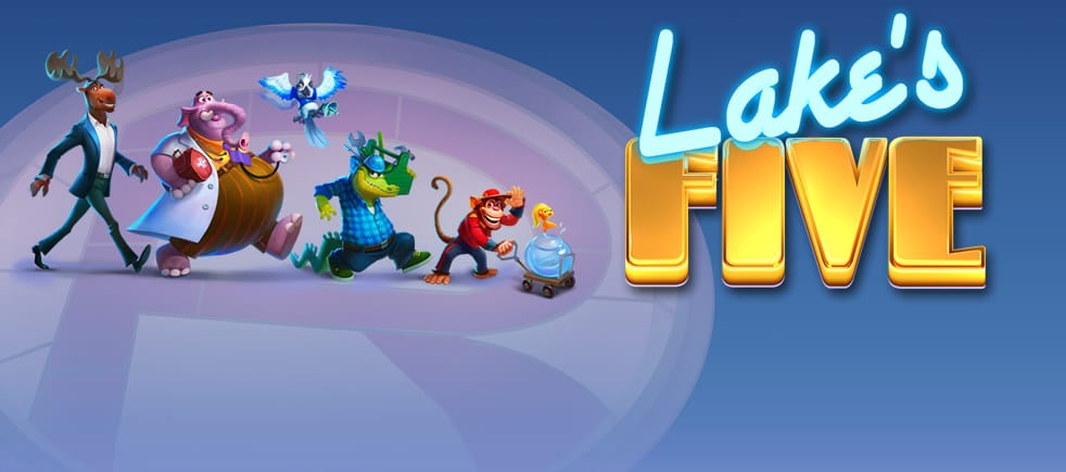 lakes five slots game logo