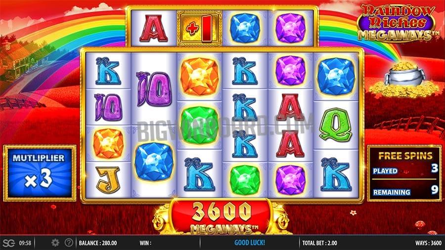 Rainbow Riches Megaways gameplay casino