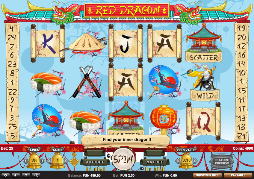 Red Dragon Slot Game Screenshot