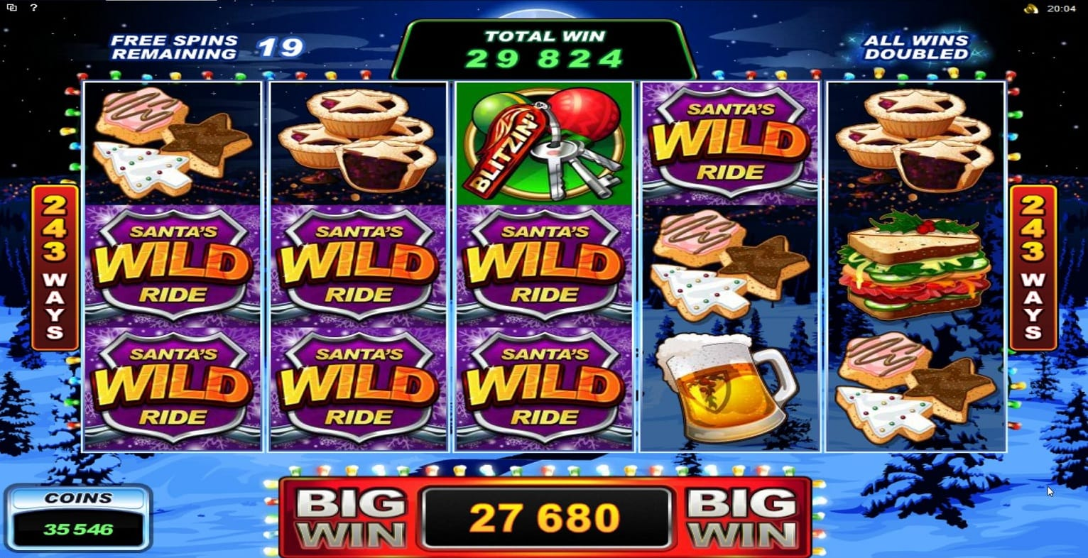 Santa's Wild Ride Christmas Slot Game Gameplay