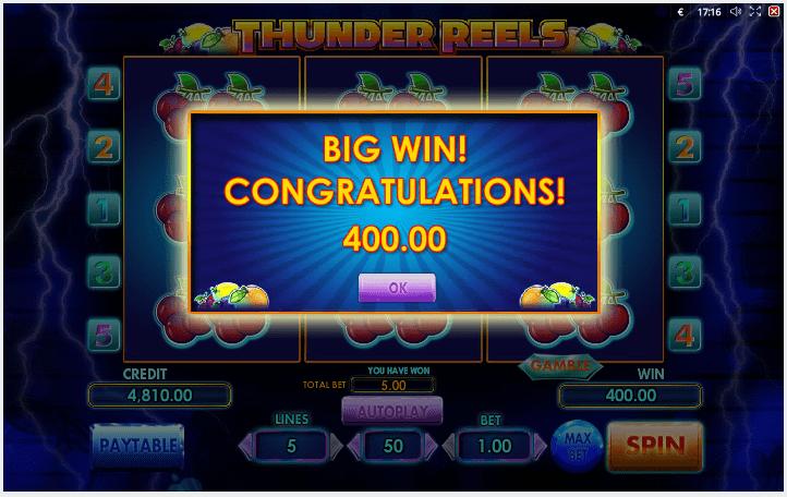 Thunder Reels Win