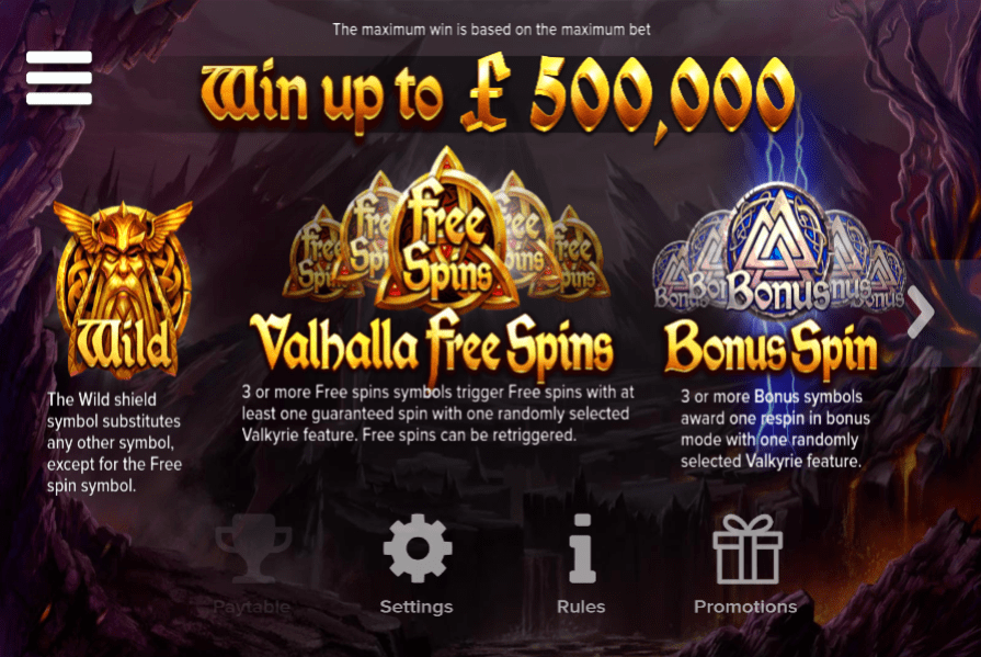 Valkyrie Paytable