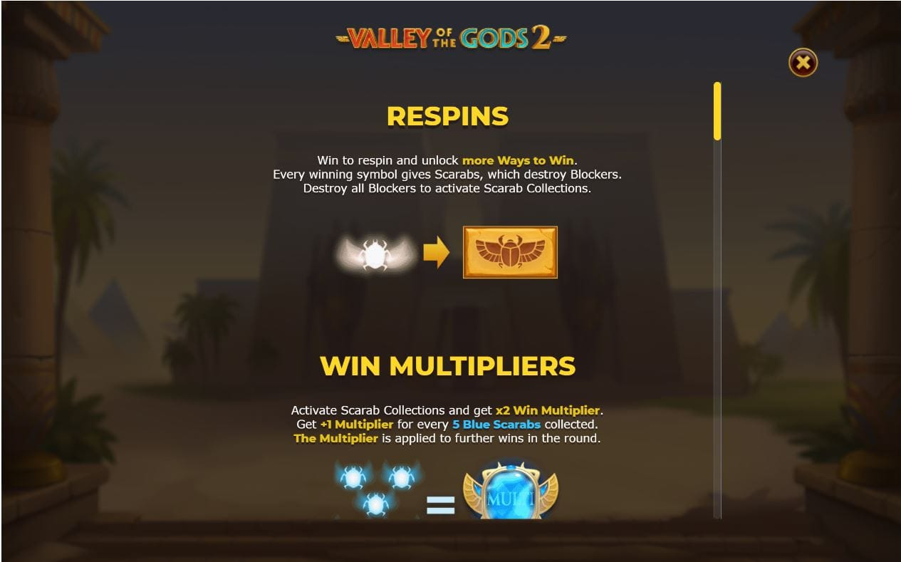 Valley of the Gods 2 Slot Features
